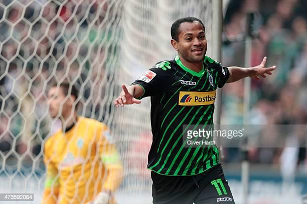 Raffael of Moenchengladbach celebrates after scoring their first goal during the First Bundesliga match between SV Werder Bremen and Borussia...