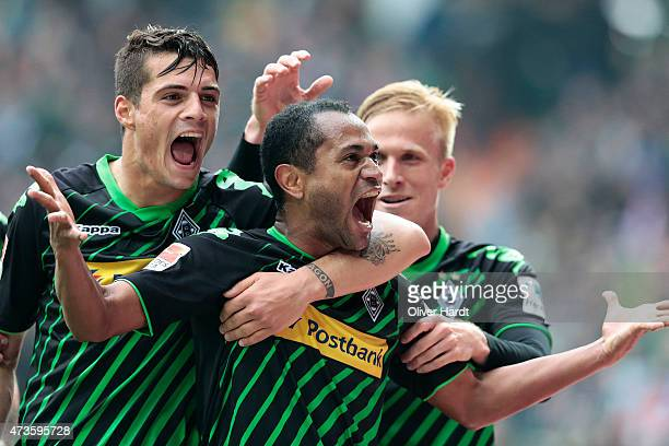 Raffael of Moenchengladbach celebrates after scoring their second goal during the First Bundesliga match between SV Werder Bremen and Borussia...