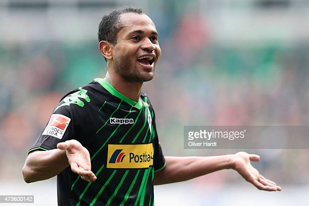 Raffael of Moenchengladbach celebrates after scoring their second goal during the First Bundesliga match between SV Werder Bremen and Borussia...