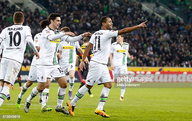 Raffael of Moenchengladbach celebrates scoring the to make it 20 goal during the Bundesliga match between Borussia Moenchengladbach and VfB Stuttgart...