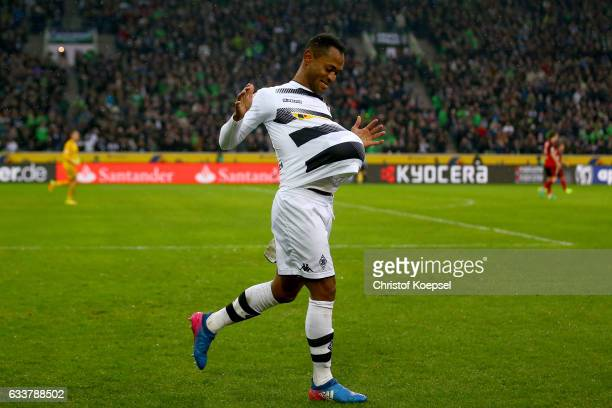 Raffael of Moenchengladbach celebrates the second goal during the Bundesliga match between Borussia Moenchengladbach and SC Freiburg at BorussiaPark...