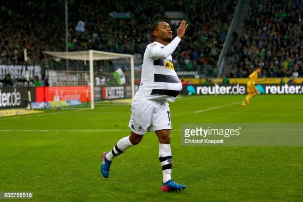 Raffael of Moenchengladbach celebrates the second goal during the Bundesliga match between Borussia Moenchengladbach and SC Freiburg at BorussiaPark...