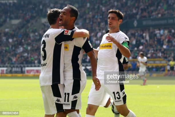 Raffael of Moenchengladbach celebrates the second goal with Andreas Christensen during the Bundesliga match between Borussia Moenchengladbach and SV...
