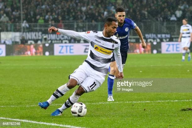 Raffael of Moenchengladbach controls the ball during the Bundesliga match between Borussia Moenchengladbach and FC Schalke 04 at BorussiaPark on...