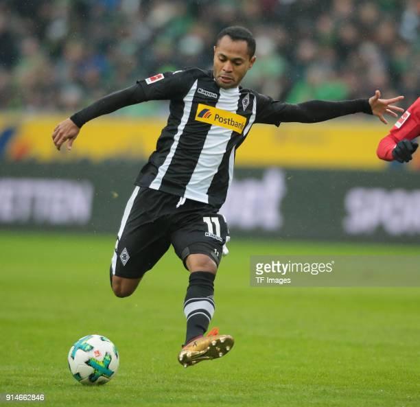 Raffael of Moenchengladbach controls the ball during the Bundesliga match between Borussia Moenchengladbach and FC Augsburg at BorussiaPark on...