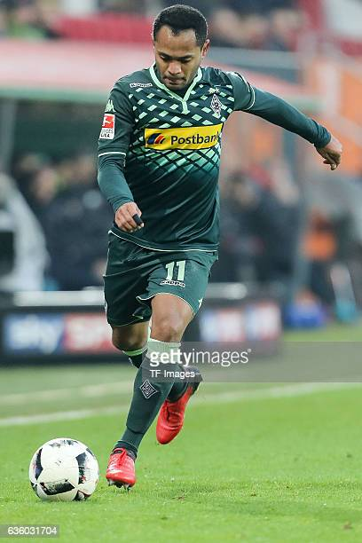 Raffael of Moenchengladbach in action during the Bundesliga match between FC Augsburg and Borussia Moenchengladbach at WWKArena on December 17 2016...