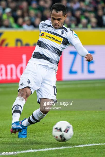 Raffael of Moenchengladbach in action during the Bundesliga match between Borussia Moenchengladbach and Bayern Muenchen at BorussiaPark on March 19...