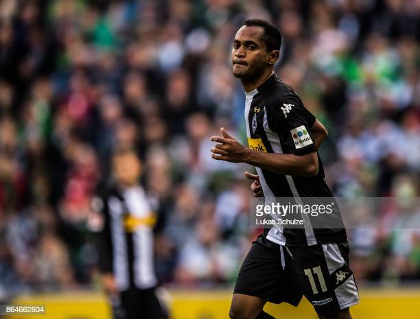 Raffael of Moenchengladbach in action during the Bundesliga match between Borussia Moenchengladbach and Bayer 04 Leverkusen at BorussiaPark on...