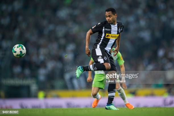 Raffael of Moenchengladbach in action during the Bundesliga match between Borussia Moenchengladbach and VfL Wolfsburg at BorussiaPark on April 20...