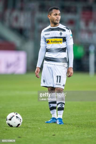 Raffael of Moenchengladbach is waiting for the referee during the Bundesliga match between Borussia Moenchengladbach and Bayern Muenchen at...
