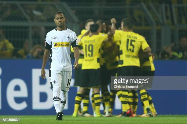 Raffael of Moenchengladbach looks dejected after Dortmund scored their fourth goal to make it 40 during the Bundesliga match between Borussia...