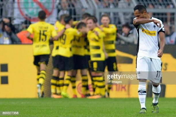 Raffael of Moenchengladbach looks dejected during the Bundesliga match between Borussia Dortmund and Borussia Moenchengladbach at Signal Iduna Park...