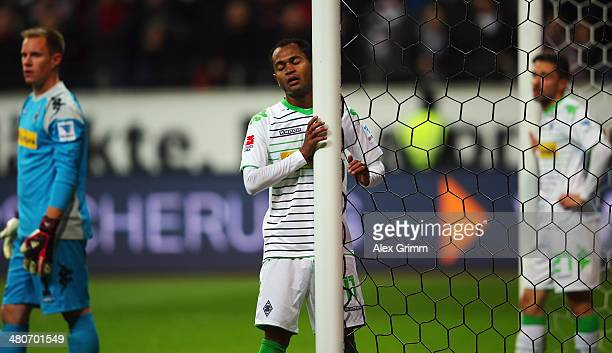 Raffael of Moenchengladbach reacts during the Bundesliga match between Eintracht Frankfurt and Borussia Moenchengladbach at Commerzbank Arena on...