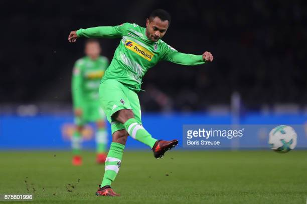 Raffael of Moenchengladbach shoots and scores a goal to make it 30 during the Bundesliga match between Hertha BSC and Borussia Moenchengladbach at...