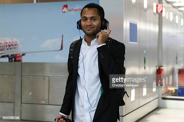 Raffael upon the departure from Airport Duesseldorf on their way to Manchester ahead the UEFA Champions League group D match against Manchester City...