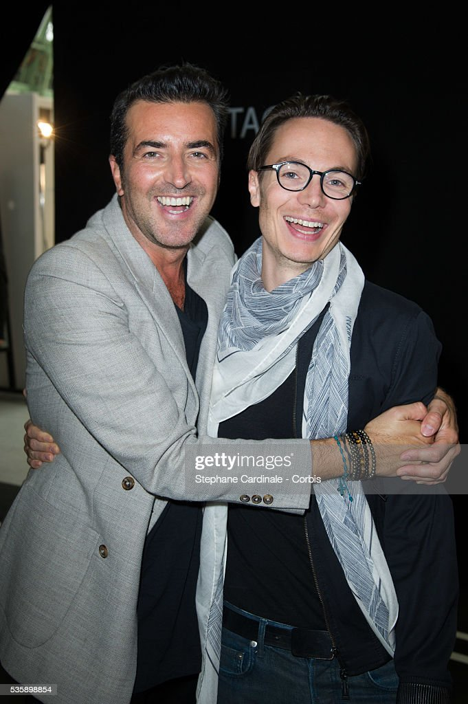 Raffaele Borriello and Maxime Simoens attends Leonard show, as part of the Paris Fashion Week Womenswear Spring/Summer 2014, in Paris.
