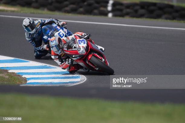 Raffaele De Rosa of Italy and MV Augusta Reparto Corse leads the field during the Supersport race during the 2020 Superbike World Championship at...
