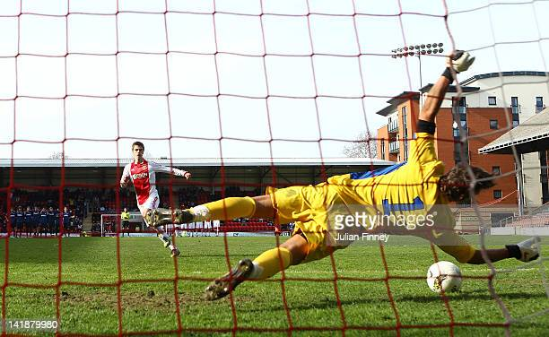 Raffaele Di Gennaro of Inter Milan saves a penalty Joel Veltman of Ajax during the NextGen Series Final between Ajax U19 and Inter Milan U19 at...