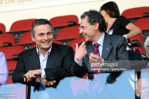 Raffaele Donini and Maurizio Cevenini politicians of PD Democratic Party looks over during the Serie A match between Bologna FC and AS Bari at Stadio...