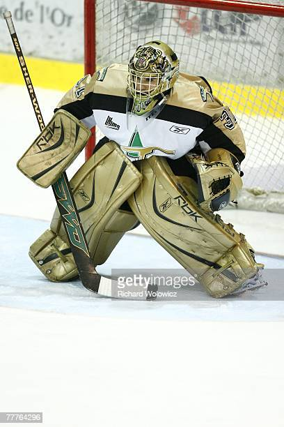 Raffaele D'Orso of the Val D'Or Foreurs stands ready for a shot during the game against the Cap Breton Screaming Eagles at the Air Creebec Centre on...