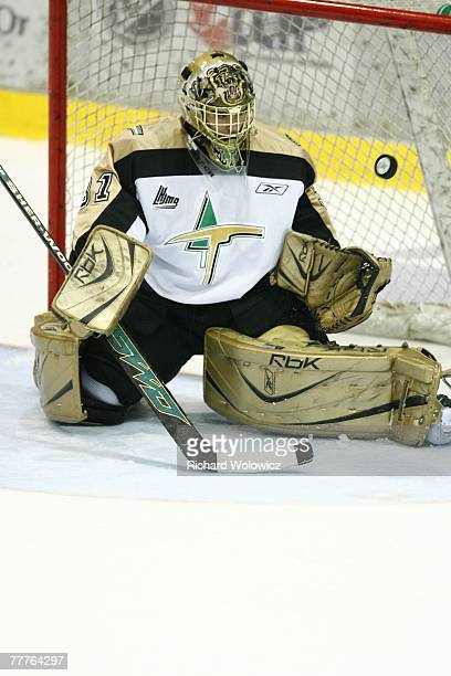 Raffaele D'Orso of the Val D'Or Foreurs stops the puck during the game against the Cap Breton Screaming Eagles at the Air Creebec Centre on November...