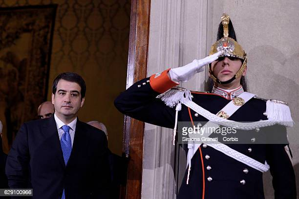 Raffaele Fitto of Conservatives and Reformist Party leaves the President Sergio Mattarella studio during the second day of talks with political...