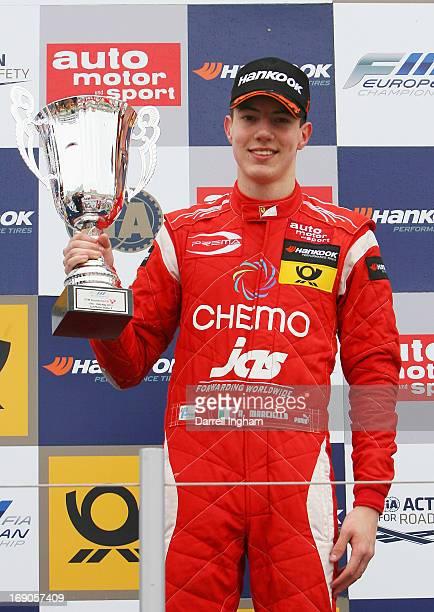 Raffaele Marcielo of Italy, driver of the Prema Powerteam Dallara F312 Mercedes celebrates winning the FIA European Formula 3 Championship race at...