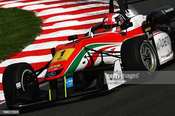 Raffaele Marcielo of Italy drives the Prema Powerteam Dallara F312 Mercedes during the FIA European Formula 3 Championship race at the Brands Hatch...