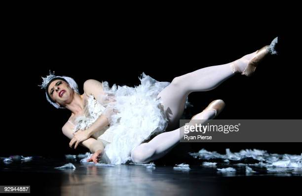 Raffaele Morra performs the Dying Swan during the press call for Les Ballets Trockadero de Monte Carlo at the Theatre Royal on November 10 2009 in...