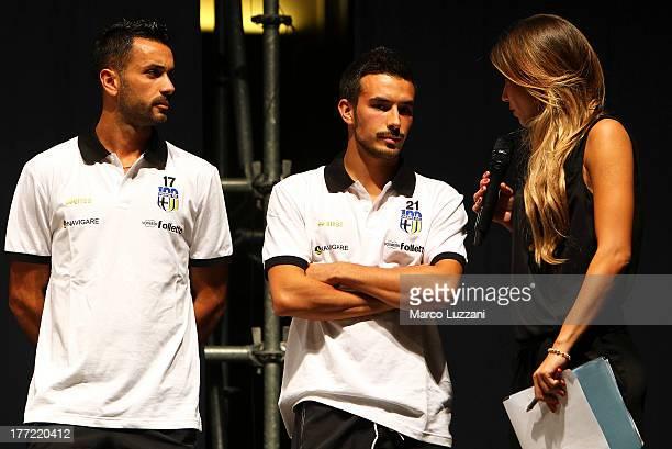 Raffaele Palladino Nicola Sansone of Parma FC and Federica Masolin attend at FC Parma Team Presentation on August 22 2013 in Parma Italy