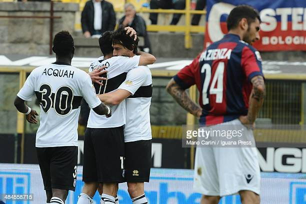 Raffaele Palladino of Parma FC celebrates after scoring a goal during the Serie A match between Bologna FC and Parma FC at Stadio Renato Dall'Ara on...