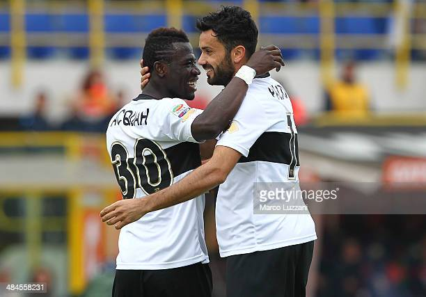 Raffaele Palladino of Parma FC celebrates his goal with his teammate Afriyie Acquah during the Serie A match between Bologna FC and Parma FC at...