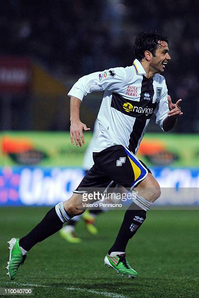 Raffaele Palladino of Parma FC celebrates scoring the opening goal during the Serie A match between Parma FC and SSC Napoli at Stadio Ennio Tardini...