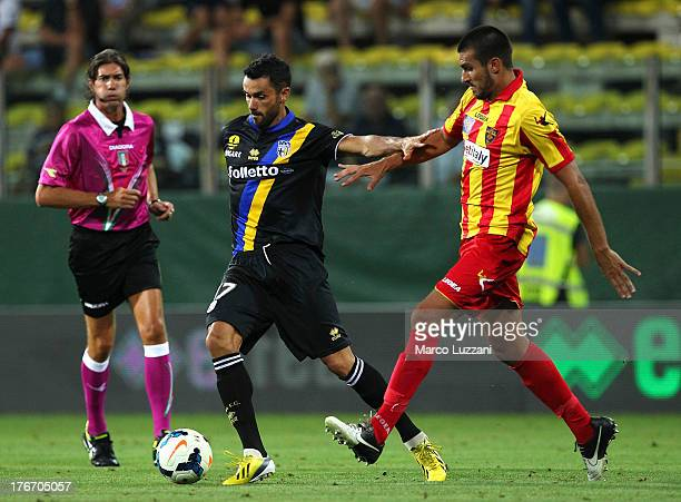 Raffaele Palladino of Parma FC competes for the ball with Vittorio Ferrero of US Lecce during the TIM Cup match between Parma FC and US Lecce at...