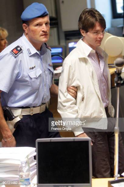 Raffaele Sollecito arrives at the sitting of the Meredith Kercher murder trial at the Perugia courthouse on September 14 2009 in Perugia Italy...
