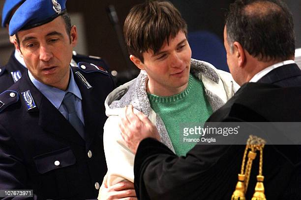 Raffaele Sollecito attends the appeal hearing over the guilty verdict in the murder of Meredith Kercher in Perugia's court of Appeal on December 18,...