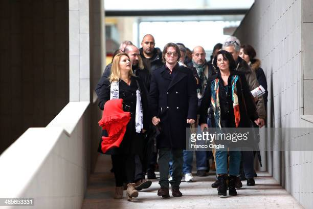 Raffaele Sollecito leaves the Nuovo Palazzo di Giustizia courthouse of Florence during a break of the final verdict of the Amanda Knox and Raffaele...
