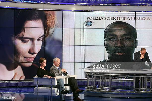 Raffaele Sollecito's sister and father Vanessa Sollecito and Francesco Sollecito attend 'Porta A Porta' TV talk show dedicated to the final verdict...