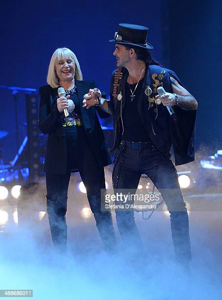 Raffaella Carra and Piero Pelu attend 'The Voice Of Italy' TV Show on May 7 2014 in Milan Italy