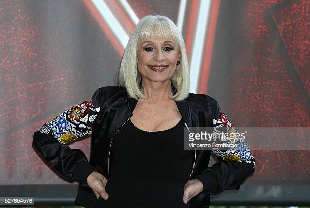 Raffaella Carra attends a photocall for 'The Voice Of Italy' on May 3 2016 in Milan Italy