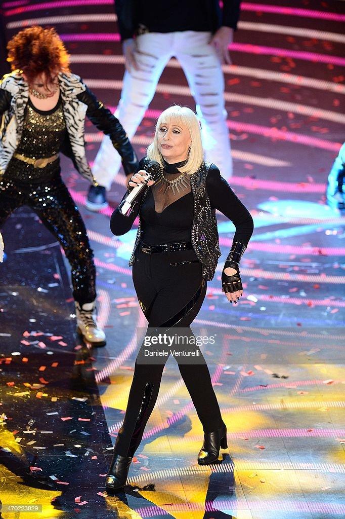Raffaella Carra attends opening night of the 64th Festival di Sanremo 2014 at Teatro Ariston on February 18, 2014 in Sanremo, Italy.