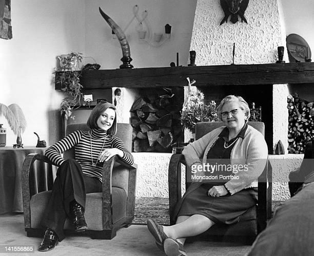 Raffaella Carra Italian showgirl dancer actress and singer looking at her grandmother Andreina Italy 1970