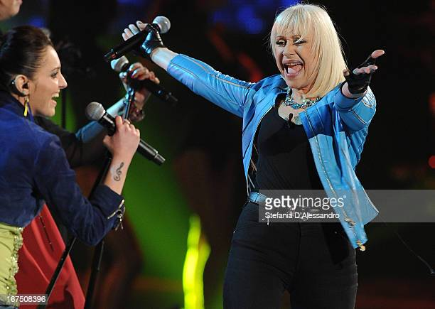 Raffaella Carra performs at 'The Voice' of Italy on April 25 2013 in Milan Italy