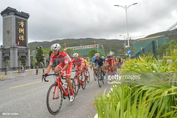 Raffaello Bonusi and Matteo Malucelli from Androni Sidermec Bottecchia team lead the peloton during the fifth and final stage of the 2017 Tour of...