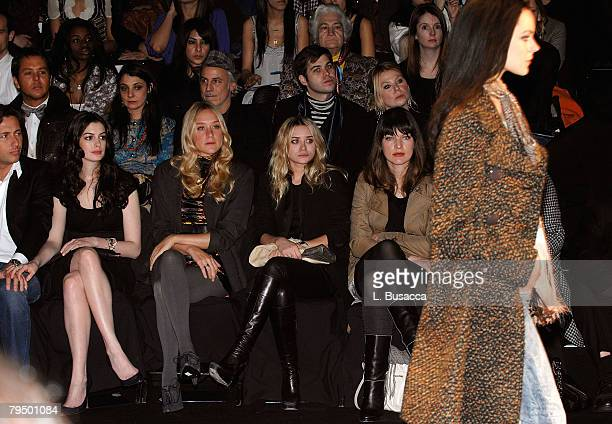Raffaello Follieri actress Anne Hathaway actress Chloe Sevigny actress Ashley Olsen and actress/designer Milla Jovovich attend Miss Sixty Fall 2008...