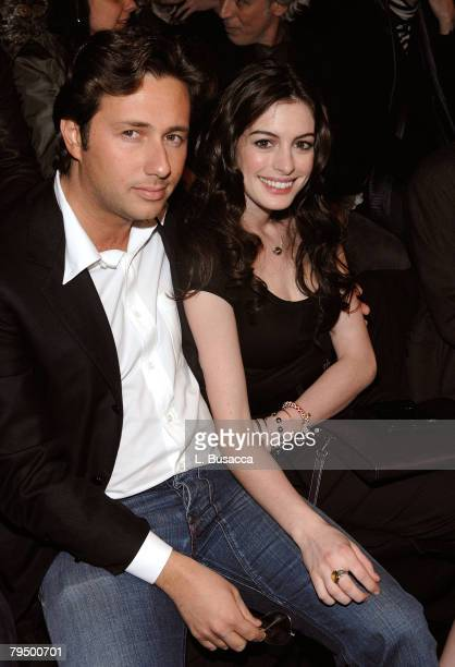 Raffaello Follieri and actress Anne Hathaway attend Miss Sixty Fall 2008 during MercedesBenz Fashion Week at the Tent Bryant Park on February 3 2008...
