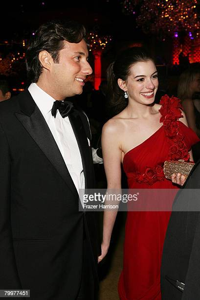 Raffaello Follieri and actress Anne Hathaway pose at the Governor's Ball following the 80th Annual Academy Awards held at The Highlands on February...