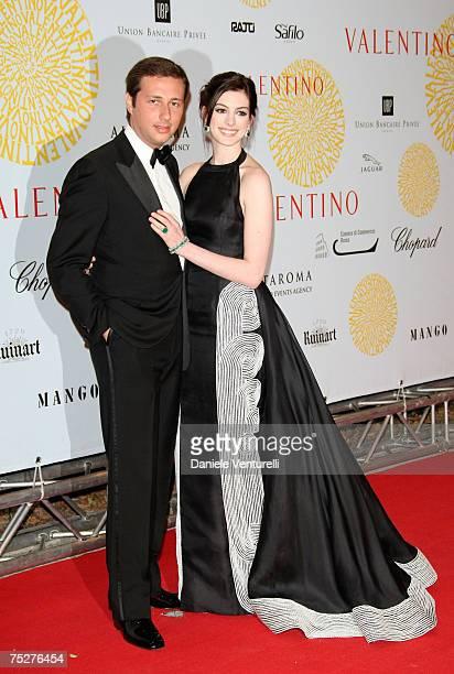 Raffaello Follieri and Anne Hathaway arrives for the 'Valentino 45th Anniversary Celebration' Gala held at the Villa Borghese in the Parco dei Daini...