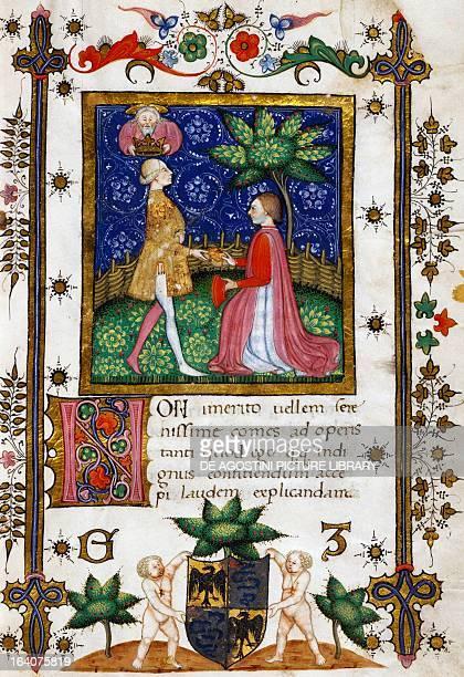 Raffaello Visconti presenting his Liber Iudiciorum to Galeazzo Maria Sforza miniature Italy 15th century Milan Archivio Storico Civico E Biblioteca...