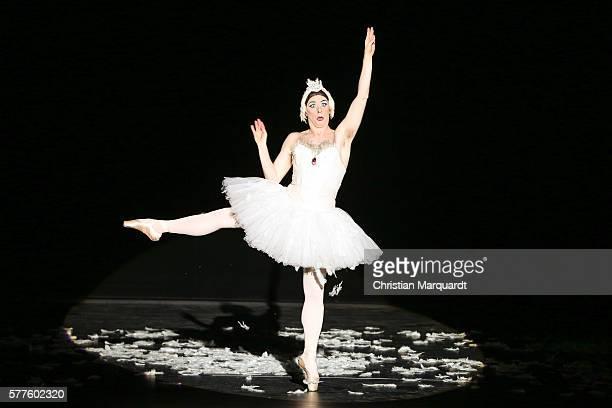Raffaelo Morra who dances as Lariska Dumchenko performs on stage during the press call of the Les Ballets Trockadero de Monte Carlo at Komische Oper...